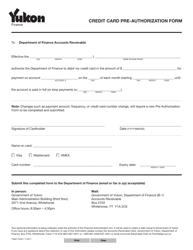 """Form YG6511 """"Credit Card Pre-authorization Form"""" - Yukon, Canada"""