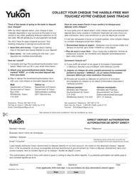 """Form YG4980 """"Direct Deposit Authorization"""" - Yukon, Canada (English/French)"""