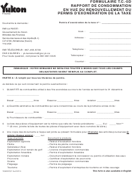 """Forme YG4826 """"Rapport De Consommation En Vue Du Renouvellement Du Permis D'exoneration De La Taxe - Demande 5d"""" - Yukon, Canada (French)"""
