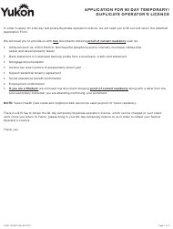"""Form YG6112 """"Application for 90 Day Temporary/Duplicate Operator's Licence"""" - Yukon, Canada"""