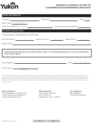 """Form YG6056 """"Driver's Licence Letter of Confirmation/Experience Request"""" - Yukon, Canada"""