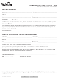"""Form YG5729 """"Parental/Guardian Consent Form for Applicants Under the Age of 18"""" - Yukon, Canada"""
