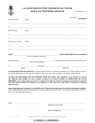 "Forme 6 (YG3148) ""Notice to Alleged Partner"" - Yukon, Canada (French)"