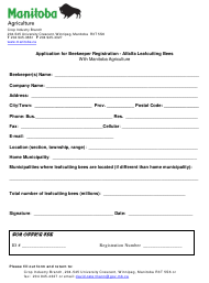 """""""Application for Beekeeper Registration - Alfalfa Leafcutting Bees"""" - Manitoba, Canada"""