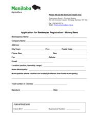 """Application for Beekeeper Registration - Honey Bees"" - Manitoba, Canada"