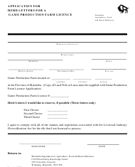 """""""Application for Herd Letters for a Game Production Farm Licence"""" - Manitoba, Canada"""