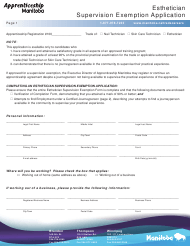 """Esthetician Supervision Exemption Application Form"" - Manitoba, Canada"