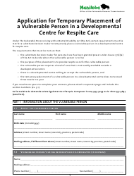 """""""Application for Temporary Placement of a Vulnerable Person in a Developmental Centre for Respite Care"""" - Manitoba, Canada"""