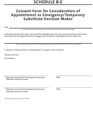 """Schedule B-E """"Consent Form for Consideration of Appointment as Emergency/Temporary Substitute Decision Maker"""" - Manitoba, Canada"""