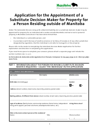 """""""Application for the Appointment of a Substitute Decision Maker for Property for a Person Residing Outside of Manitoba"""" - Manitoba, Canada"""