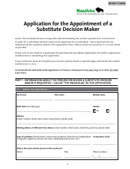 """""""Application for the Appointment of a Substitute Decision Maker"""" - Manitoba, Canada"""