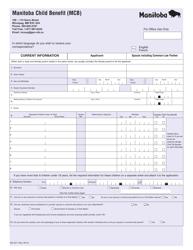 "Form MG9217 ""Manitoba Child Benefit (Mcb)"" - Manitoba, Canada"