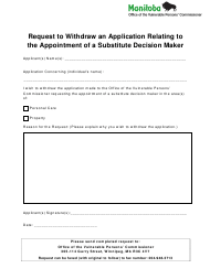 """""""Request to Withdraw an Application Relating to the Appointment of a Substitute Decision Maker"""" - Manitoba, Canada"""