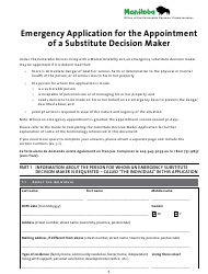 """""""Emergency Application for the Appointment of a Substitute Decision Maker"""" - Manitoba, Canada"""
