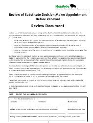 """""""Review of Substitute Decision Maker Appointment Before Renewal"""" - Manitoba, Canada"""