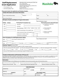 """Staff Replacement Grant Application"" - Manitoba, Canada"