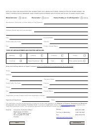 """Application for Registration in Manitoba as a Manufacturer, Renovator or Home Hobby or Craft Operator of Bedding and Other Upholstered or Stuffed Articles"" - Manitoba, Canada"