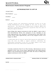 """Authorization to Opt in"" - Manitoba, Canada"