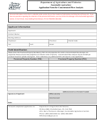 """""""Application Form for Concentrated Flow Analysis"""" - Prince Edward Island, Canada"""
