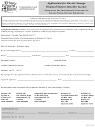 """Application for on-Site Sewage Disposal System Installer Licence"" - Prince Edward Island, Canada"