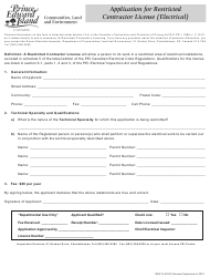 """Application for Restricted Contractor License (Electrical)"" - Prince Edward Island, Canada"