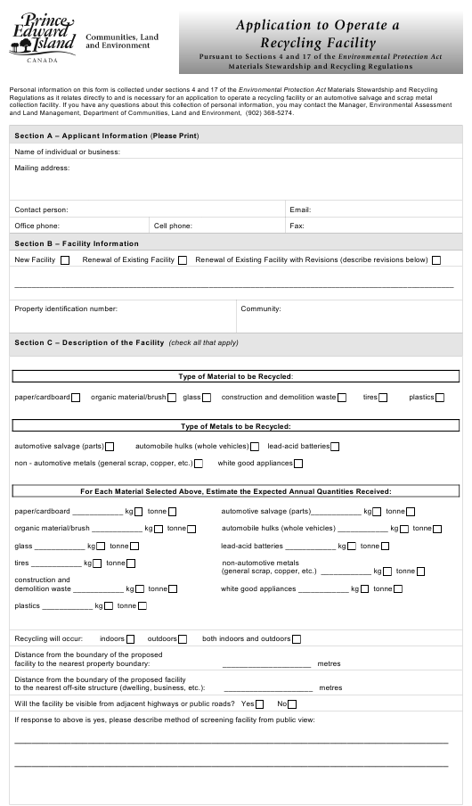 """""""Application to Operate a Recycling Facility"""" - Prince Edward Island, Canada Download Pdf"""