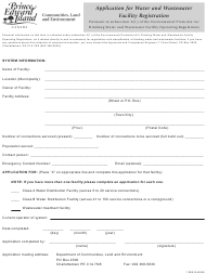 """Application for Water and Wastewater Facility Registration"" - Prince Edward Island, Canada"