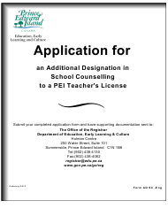 """Form AD SC """"Application for an Additional Designation in School Counselling to a Pei Teacher's License"""" - Prince Edward Island, Canada"""