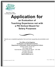 """Form WE1 """"Application for an Evaluation of Teaching Experience Not With a Pei School Board for Salary Purposes"""" - Prince Edward Island, Canada"""