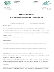 """""""Request for Inspection of Seasonal Agricultural Worker Accommodations"""" - Prince Edward Island, Canada"""