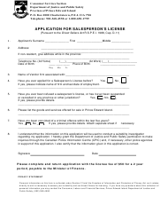 """Application for Salesperson's License"" - Prince Edward Island, Canada"