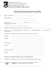 """Direct Sellers Vendor's License Application Form"" - Prince Edward Island, Canada"