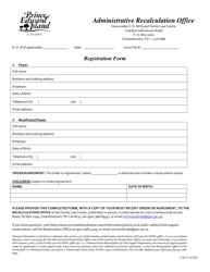 """Recalculation Office Filing Information Registration Form"" - Prince Edward Island, Canada"