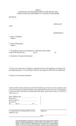 "Form 6 ""Application for Amendment of Certification Order"" - Prince Edward Island, Canada"