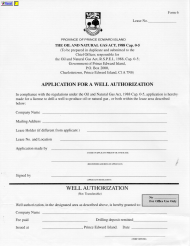 "Form 6 ""Application for a Well Authorization"" - Prince Edward Island, Canada"