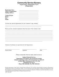 """""""Community Service Bursary Organization Registration Form"""" - Prince Edward Island, Canada"""
