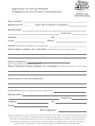 """Application for Annual Renewal of Registration of a Private Training School"" - Prince Edward Island, Canada"