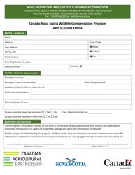 """""""Canada-nova Scotia Wildlife Compensation Program Application Form"""" - Nova Scotia, Canada"""