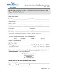 """Application for a Deer Farming License"" - Nova Scotia, Canada"