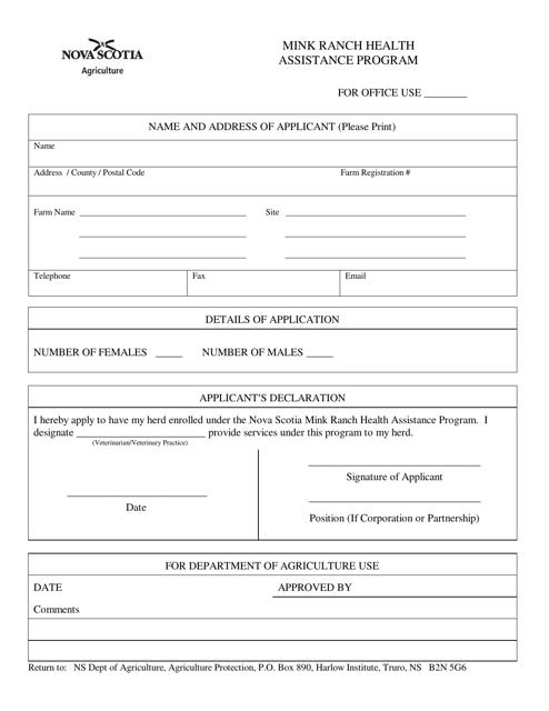 """""""Mink Ranch Health Assistance Program Application"""" - Nova Scotia, Canada Download Pdf"""