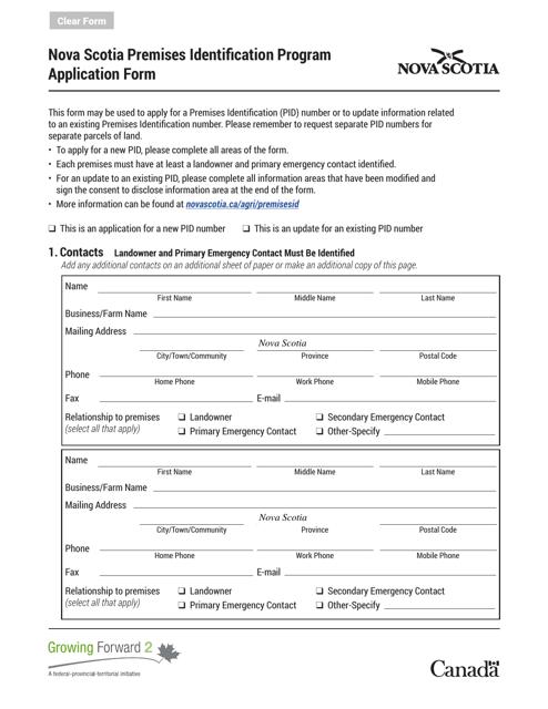 """""""Nova Scotia Premises Identification Program Application Form"""" - Nova Scotia, Canada Download Pdf"""