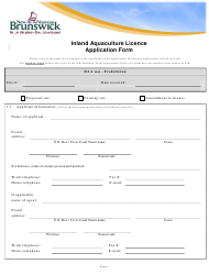 """Inland Aquaculture Licence Application Form"" - New Brunswick, Canada"