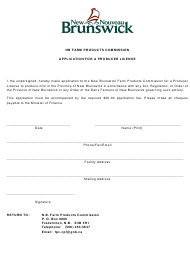 """Application for a Producer Licence"" - New Brunswick, Canada"