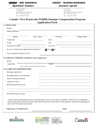 """Canada / New Brunswick Wildlife Damage Compensation Program Application Form"" - New Brunswick, Canada"