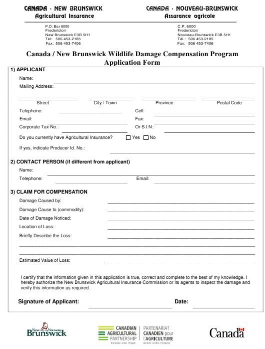 """Canada / New Brunswick Wildlife Damage Compensation Program Application Form"" - New Brunswick, Canada Download Pdf"