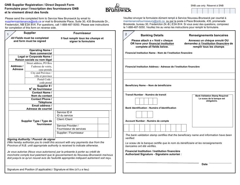 """Gnb Supplier Registration / Direct Deposit Form"" - New Brunswick, Canada (English/French) Download Pdf"
