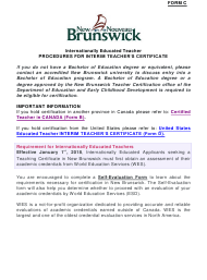 "Form C ""Teacher Certification Application Form for Internationally Educated Teachers"" - New Brunswick, Canada"