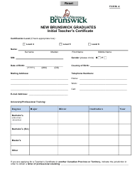 "Form A ""New Brunswick Graduates Initial Teacher's Certificate"" - New Brunswick, Canada"