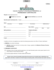 "Form E ""Interim Teacher's Certificate Renewal or Permanent Certificate"" - New Brunswick, Canada"