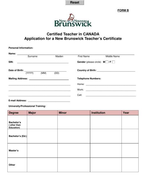Form B Printable Pdf